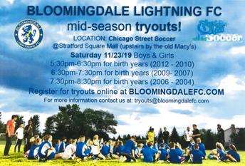 Bloomingdale Lightening Soccer Travel Team Mid-Season Tryouts