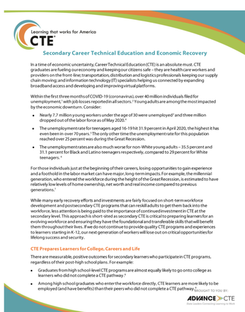 Secondary Career Technical Education and Economic Recovery