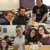 French Club members attempt to build the Eiffel Tower with toothpicks and marshmallows.