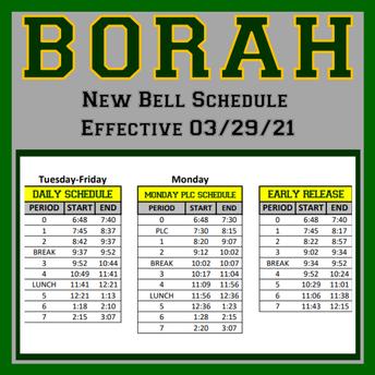 New Borah Bell Schedule Effective 03/29/21