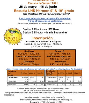 Summer School Flyer - Spanish
