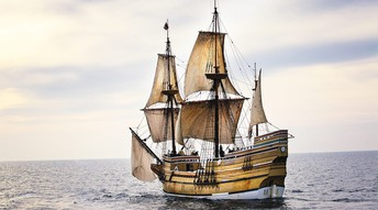 Mayflower lands at Plymouth Harbor