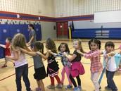 Kindergarten learns teamwork in PE!