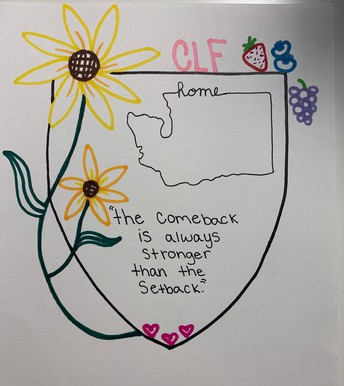 color marker drawing of a shield with flowers, fruit & outline of WA state