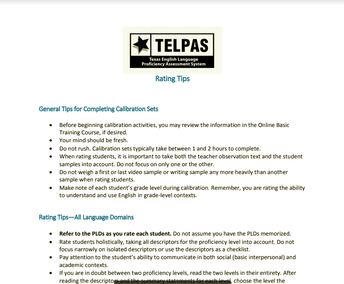 TELPAS Rating Information