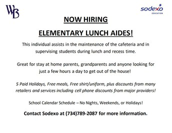 Now Hiring - Elementary Lunch Aides!