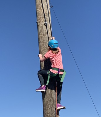 Ashley Longoria climbing up the tower!!