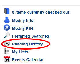 2. Click Reading History and select Opt In