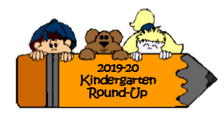 """pencil with boy, bear and girl """"2019-20 Kindergarten Round-Up"""""""