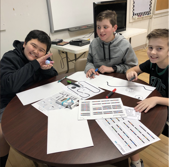Students doing line color coding