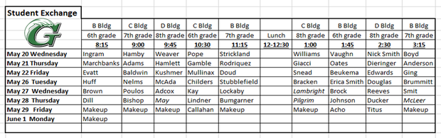 Student Exchange Schedule