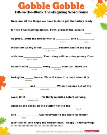 Fill in the Blanks Thanksgiving Word Game