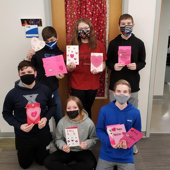 Reading Students making Valentine's Day Cards