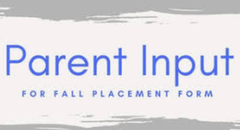 Parent Input Form for Class Placement