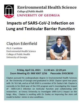 Environmental Health Seminar: Impacts of SARS-CoV-2 Infection on Lung and Testicular Barrier Function