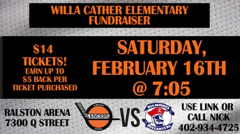 Lancer Hockey Night!! Come have fun with Cather families.