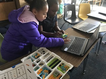 3rd Grade Working on Code to the Future Projects