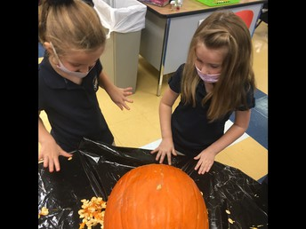 Scooping out our pumpkin