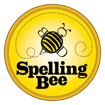 Spelling bee yellow circle with black letters and black and yellow bee
