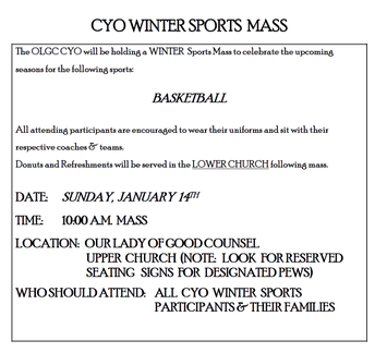 CYO Winter Sports Mass
