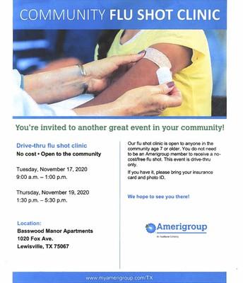 Community Flu Shot Clinic Flyer