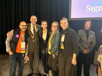 Dr. Shannon, Sigma President, Dr. Karen Morrin, Dr. Pauli and Kelley Kamin
