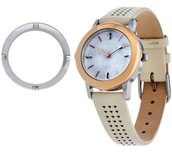Icon Convertible Watch with SIlver Bezel, Stone