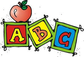 ABC blocks in primary colors with apple on top