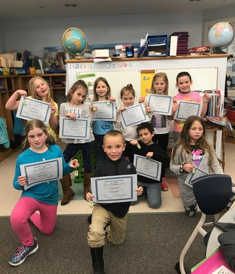 April 2019 Perfect Attendance - 2nd grade