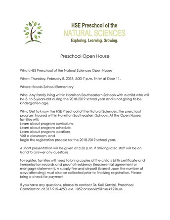 HSE Preschool of the Natural Sciences Open House February 8, 2018