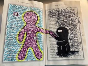 Drawing on old book of human figure reaching out seated figure