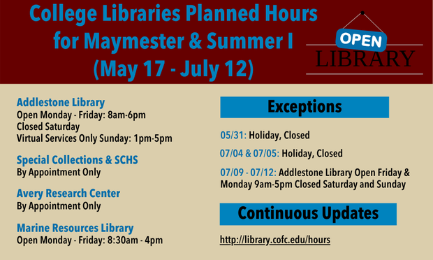 College Libraries Maymester & Summer I Hours Graphic