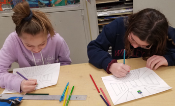 Perspective drawing in Art class