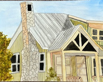 perspective drawing of house with stone fireplace