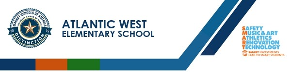 A graphic banner that shows Atlantic West Elementary School's name and SMART logo