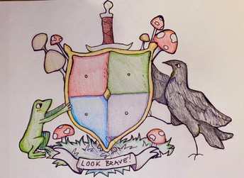 color pencil drawing of coat of arms with frog & raven and sword down the middle of the shield