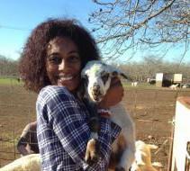 Vet tech with goat