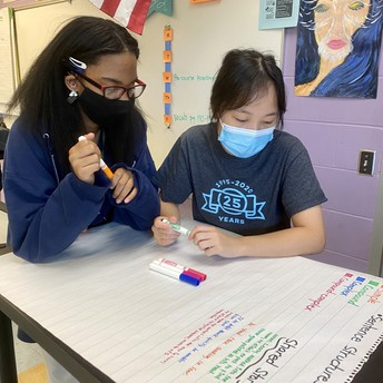 Students write a story on large paper