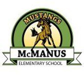 Green McManus Mustang Logo with an image of a brown mustang