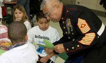 Students with a veteran