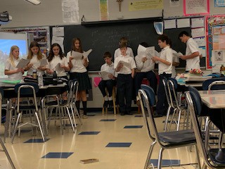 7th graders practice reading scripts