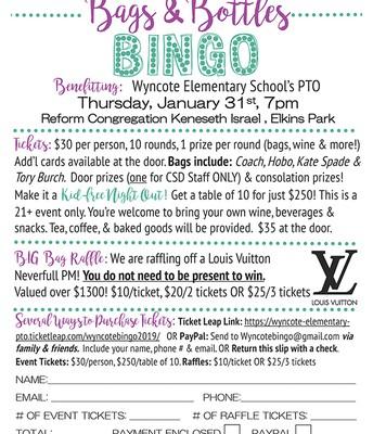 Bags & Bottles Bingo @ Wyncote Elementary