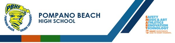 A graphic banner that shows Pompano Beach High School's name and SMART logo