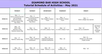 DBHS Activities - May 3 - May 27, 2021