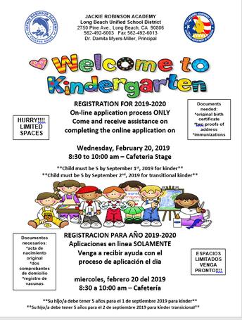 2019-20 Kindergarten Registration NOW OPEN