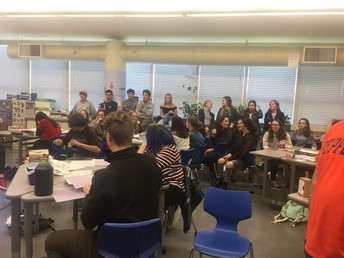 Students gather to interact with Zimbardo