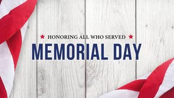 Principal's Note: No School 5/25/20 Memorial Day