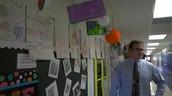 Student work lines the hallways