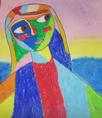 Matisse Style Self Portraits, oil pastel and sharpie