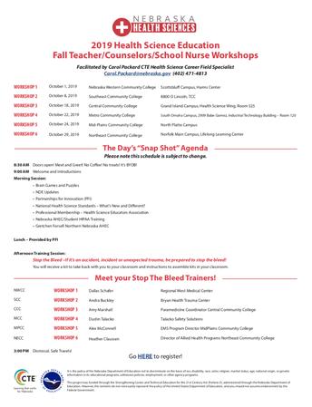 2019 Health Science Education Fall Teacher/Counselors/School Nurse Workshops
